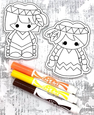 Thanksgiving Kids Coloring Dolls Embroidery Design (5X7)